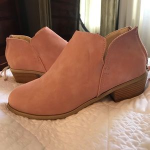Shoes - Pink Faux Suede Booties